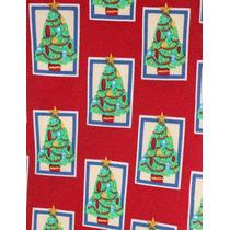 Corbata Roja Con Árboles De Navidad!! 100% Seda