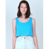 American Apparel Moderna Blusa Corta Azul Neon