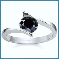 Anillo Compromiso Diamante Natural Negro Plata Oro -50% 011