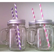 Tarro Mason Jar Vidrio Liso Incluye Tapa Perforada Y Popote