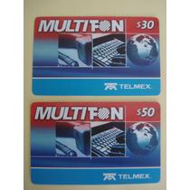 2 Tarjeta De Coleccion Multifon De 30 Y 50 Pesos Raras