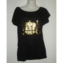 Blusa Princess Corona Real Negra/dorado