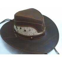 Sombrero De Piel Café Genuina Combinado Pelo Auténtico