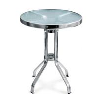 Mesa De Aluminio Cubierta De Cristal Bar Restaurante Yb-501