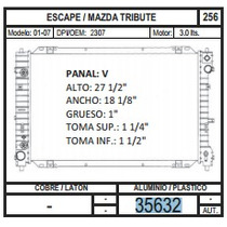 Radiador Escape / Mazda Tribute 01-07 V6 3.0 35632 + Regalo