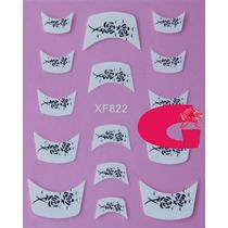 Sticker Uñas Frances 3d Set 4sobre Xf822,xf823,xf824,xf825