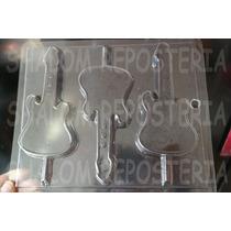 *molde Paletas De Chocolate Guitarra Electrica Disco Fiesta*
