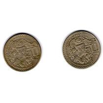 Paquete 2 Monedas $50 Mexicanos 1982 1984 Coyolhauhqui