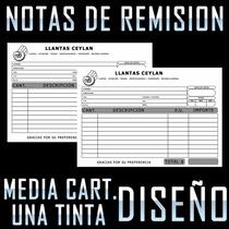 Mil Notas De Remisión Media Carta Con Copia Y Diseño 1 Tinta