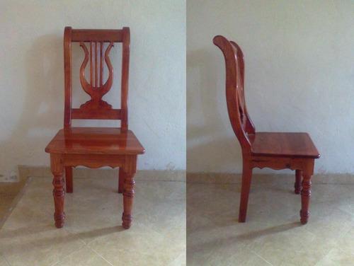 sillas para comedor en madera de cedro labradas y talladas
