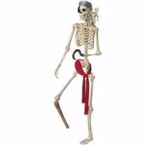 Esqueleto Con Loro Pirata Articulado Tamaño Real! Halloween
