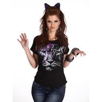 Blusa Playera Mujer Animal Print Gato Leon Lentes Hipster