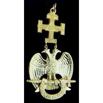 Joya Masonica Grado 32 Aguila Bicefala Metal Dorado