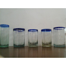 5 Vasos Franja Azul Vidrio Soplado