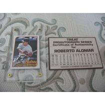 Topps Autografo Certificado Thread Roberto Alomar Padres