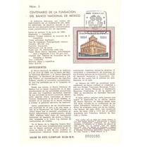 Hoja Primer Día 1984, Banco Nacional De México Banamex
