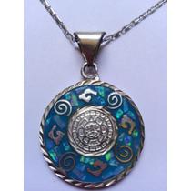 Oferta Collar Y Dije Calendario Maya Plata.925 Doble Color