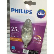 Foco Led Vela Philips Candil E12 Acepta Dimmer Luz Calida
