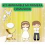 Kit Imprimible Primera Comunión Niña Y Niño Souvenirs