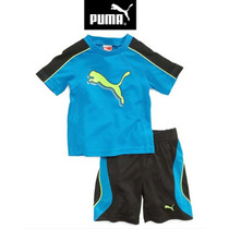 Conjunto 24 Meses Puma Nino Playera Short Azul Negro 2 Anos