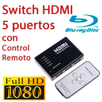 Switch 5 Puertos Hdmi Con Control Remoto Xbox Ps3 Apple Tv