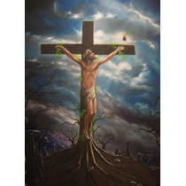 Pintura, Oleo, Original, El Árbol De La Vida. Cristo. Cuadro
