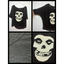 Blusa Grande Xl Gato Esqueleto Misfits Pastel Goth Punk Rock