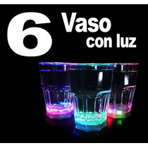 6 Vaso Con Luz Led Rgb 200 Ml. P/ Fiestas Boda Party Antro