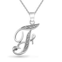 Collar Bling Jewelry Alfabeto Inicial F Cursiva Plata