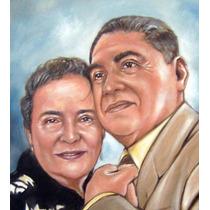 Regalo Original Aniversarios,bodas Pintura Oleo, Retrato Hm4