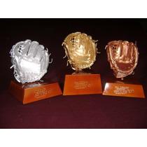 Trofeo Guante De Piel Con Base De Madera.beisbol Softbol