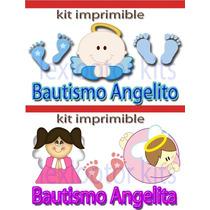 Kit Imprimible Bautizo Angelitos Huellitas Nene Y Nena 100%