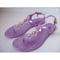 Sandalia Marca Coach Color Violeta Con Cristales Talla 27 Mx