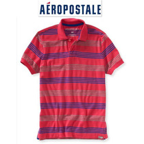 Envio Aeropostale Xxl 2x Playera Polo Hombre Rosa Azul Rayas