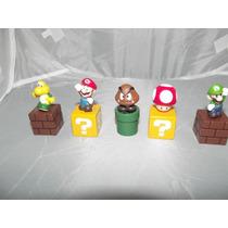 Coleccion De 5 Figuras De Mario Bros En Bloques
