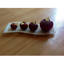 Charola Decorativa Con 4 Figuras De Manzanas En Ónix-multico