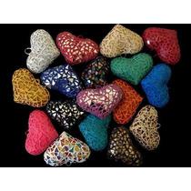 Corazon De Ceramica Vitral Collar Moda Bisutería Lote 12pzs