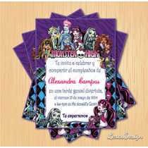 Invitacion Digital Imprimible Monster High Cumpleaños