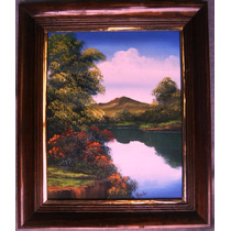 Paisaje Al Óleo, Hermosa Pintura Sobre Madera, Enmarcada