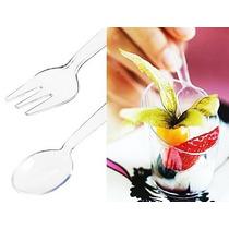Cubiertos Mini Tenedor Cuchara Plástico Postre Dulces Fiesta