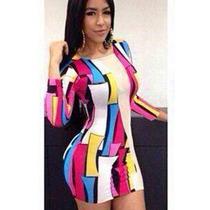 Sexy Mini Vestido Fiesta Colores Con Mangas Largas