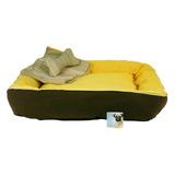 Cama Frazada Y Juguete Amarilla Gde 63x63x18 Perro O Gato