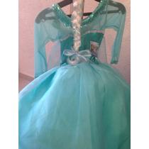 Hermoso Disfraz Elsa Frozen Con Peluca De Nieve Capa D Hielo