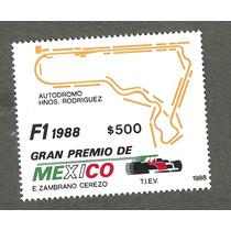 Estampilla Gran Premio De Mexico Formula 1 1988