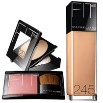 Kit Maybelline Fit Me, Base, Rubor, Polvo - Tono Medio
