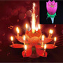 Vela Musical Flor Giratoria Pastel De Cumpleaños Rosa Fiesta
