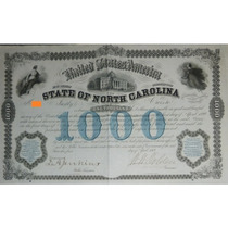 Bono U. S. A. - State Of North Carolina, 6%, $1,000, 1869.