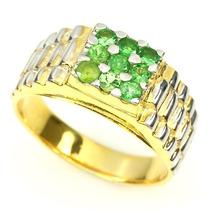 Anillo Hombre Plata/oro Tsavorita Verde # 11.5