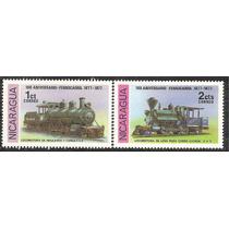 1977 Nicaragua Trenes Locomotoras Antiguas 2 Sellos Nuevos