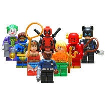 8 Super Heroes Deadpool Flash Gatubela Compatibles Con Lego